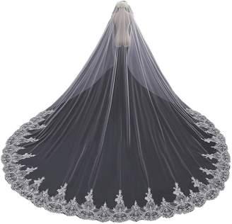 FANCY PUMPKIN Luxurious Long Wedding Veils Cathedral Veil Bridal Hair Accessories, 11