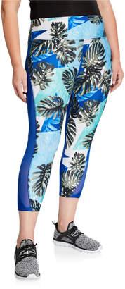 Monrow Marika Tek Plus Size Tropical-Print Capri Leggings