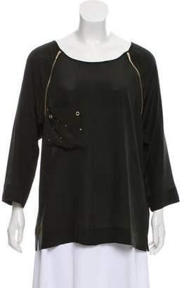 Fendi Zipper-Accented Silk Top
