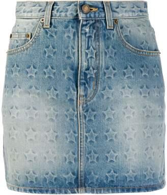 Saint Laurent star print denim mini skirt