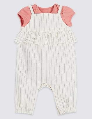 Marks and Spencer 2 Piece Frill Dungarees & Bodysuit Outfit