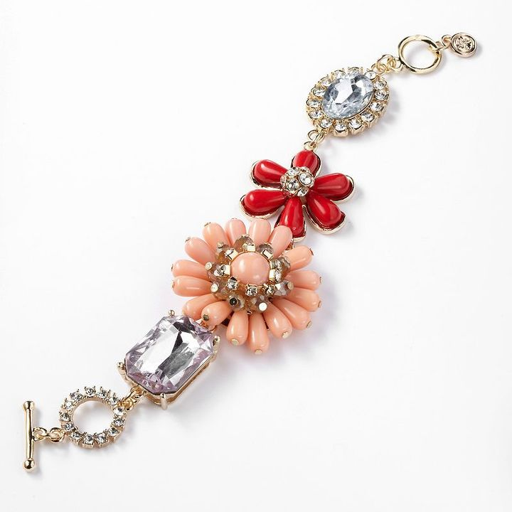 Vera Wang Simply vera gold tone simulated crystal flower link toggle bracelet