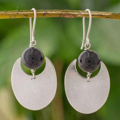 Onyx and Sterling Silver Dangle Earrings from Nicaragua, 'Dark Eclipse'