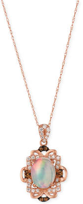 LeVian Le Vian Opal (1-1/5 ct. t.w.) and Diamond (1/3 ct. t.w.) Pendant Necklace in 14k Rose Gold, Created for Macy's