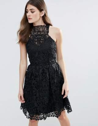 Little Mistress Lace Halter Neck Mini Dress