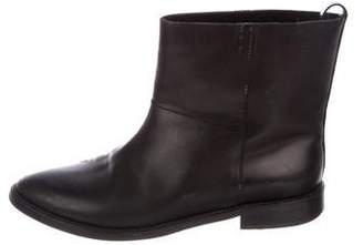 Theyskens' Theory Leather Round-Toe Ankle Boots