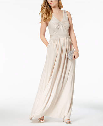 Adrianna Papell Draped V-Neck Gown