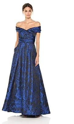 Carmen Marc Valvo Women's Portrait Collar Brocade Ball Gown W/Pockets, Blue/Black, 2