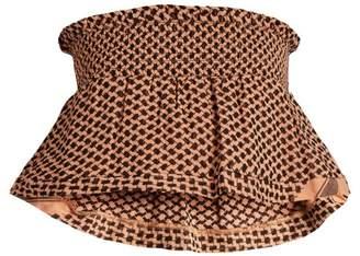 Cecilie Copenhagen - Bandeau Scarf Jacquard Cotton Cropped Top - Womens - Nude
