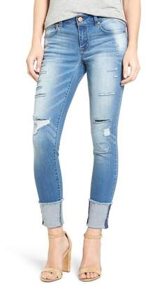 1822 Denim Destroyed Cuffed Ankle Skinny Jean $49 thestylecure.com