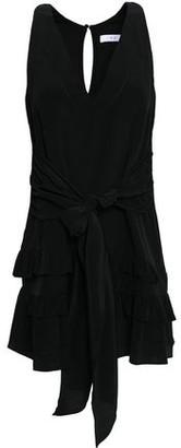 IRO Tie-front Ruffle-trimmed Silk Crepe De Chine Mini Dress