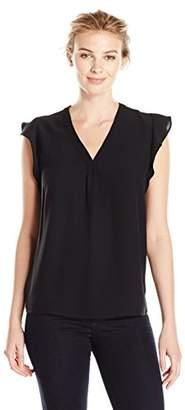 Lark & Ro Women's Ruffle Sleeve V-Neck Blouse