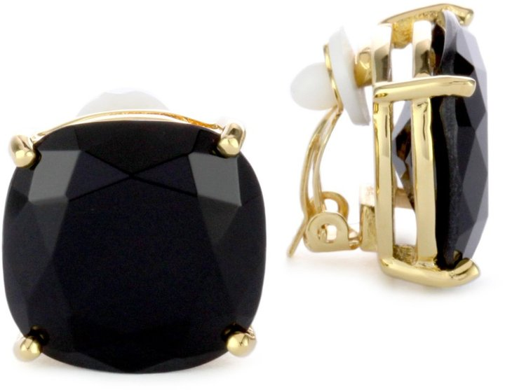 Kate Spade New York Large Faceted Black Clip-On Earrings
