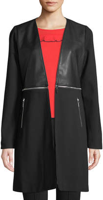 P. Luca Zip-Detail Faux-Leather Duster Jacket