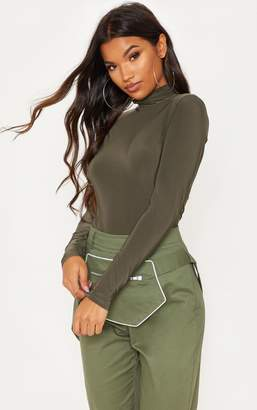 PrettyLittleThing Khaki Long Sleeve Slinky Roll Neck Top
