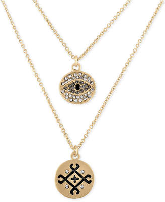 Rachel Roy Gold-Tone Pave Double-Row Pendant Necklace