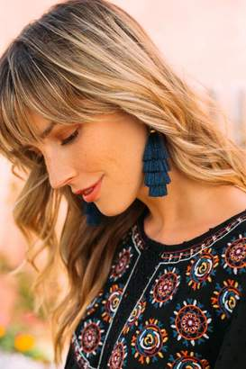 francesca's Joanne Layered Tassel Earrings - Navy