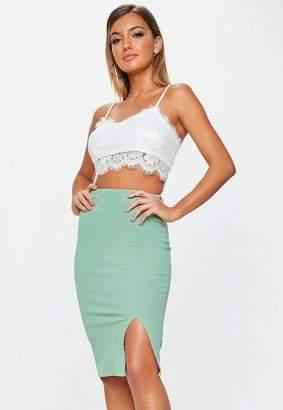 Missguided Green Scuba Split Midi Skirt