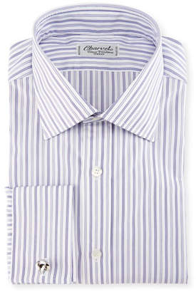 Charvet Ground-Stripe French-Cuff Dress Shirt