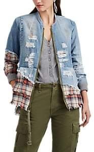 Greg Lauren Women's Mixed-Media Distressed Denim Studio Shirt Jacket - Blue, Red