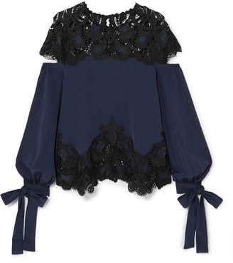 Jonathan Simkhai Cutout Guipure Lace-paneled Washed-silk Top - Midnight blue