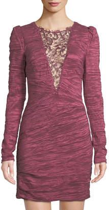 Free People Crinkle Charmeuse Lace-Inset Mini Dress