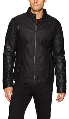 X-Ray Men's Slim Fit Moto Faux Leather Tonal Biker Jacket
