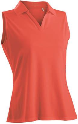 Asstd National Brand Nancy Lopez Golf Luster Sleeveless Plus Sleeveless Knit Polo Shirt Plus