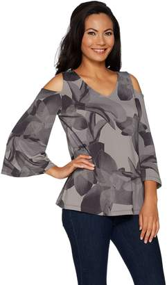 Halston H By H by Jet Set Jersey Printed Cold Shoulder Top w/ Flutter Sleeves