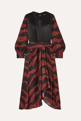 Isabel Marant Romina Asymmetric Printed Satin-jacquard Midi Dress - Black