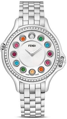 Fendi Crazy Carats Stainless Steel Rotating Gemstones Watch with Diamond Bezel Dial, 38mm