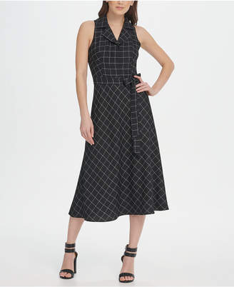 DKNY Windowpane A-line Midi Shirt Dress