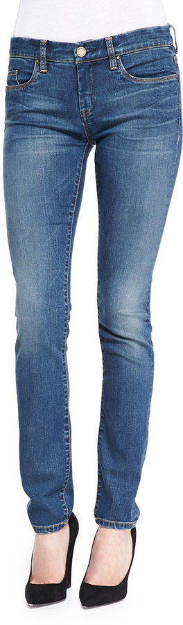 Blank Distressed Medium Wash Skinny Jeans, Blue