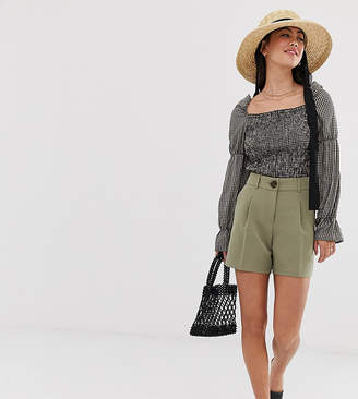 Miss Selfridge Petite tailored shorts in khaki