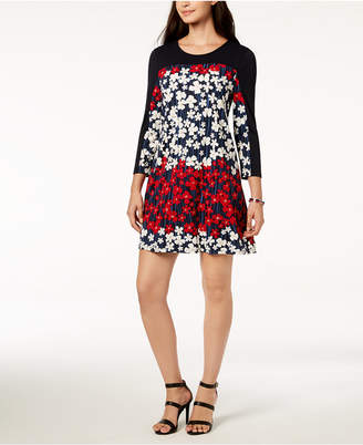 Tommy Hilfiger Floral-Print Colorblock Dress, Created for Macy's