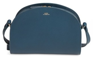 A.p.c. 'Sac Demi Lune' Leather Crossbody Bag - Blue $455 thestylecure.com