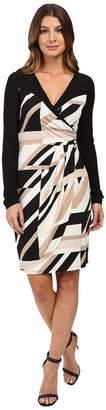 Laundry by Shelli Segal Printed Matte Jersey Faux Wrap Dress with Mesh Detail Women's Dress