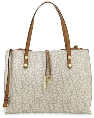 Calvin Klein Faux Leather Logo Tote Bag