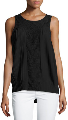 Design History Pleated Lace-Panel Blouse, Onyx $55 thestylecure.com