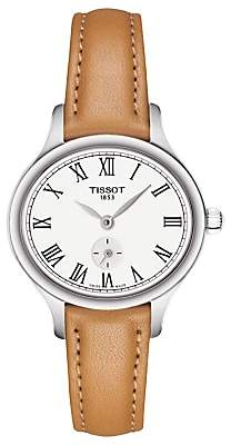 Tissot T1031101603300 Women's T-Lady Bella Ora Leather Strap Watch, Tan/White
