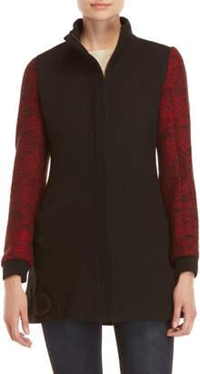Desigual Wool-Blend Zip Coat