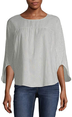 A.N.A Boxy Striped Woven Top 3/4 Sleeve Crew Neck Woven Ruffled Blouse