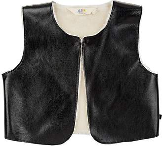 Little Eleven Paris KIDS' FAUX-LEATHER & FAUX-SHEARLING VEST