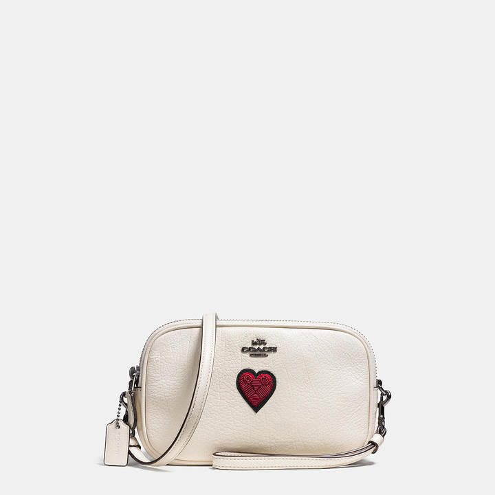 Coach   COACH Coach Crossbody Clutch In Grain Leather With Souvenir Embroidery