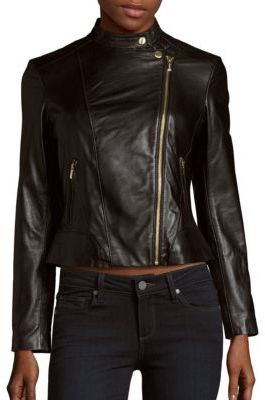 Cole Haan Front Zippered Leather Jacket