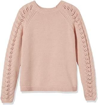 Kid Nation Girls' Crewneck Eyelet-Sleeve Knit Sweater