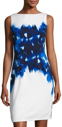 Maggy London Ikat Poppy Scuba Sheath Dress, White/Blue $99 thestylecure.com