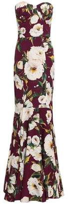 Dolce & Gabbana Strapless Floral-print Stretch-silk Crepe Gown