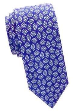 Charvet Men's Fan Embroidery Silk Tie - Blue