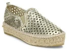 Loeffler Randall Rowan Perforated Metallic Leather Platform Espadrille Sneakers